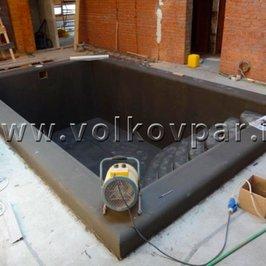 Полностью завершена гидроизоляция чаши бассейна