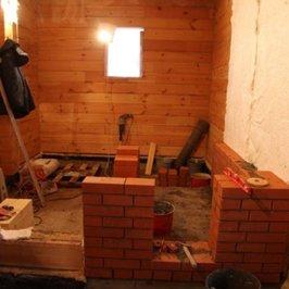 Начаты работы по кладке банного печного комплекса