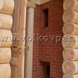 Противопожарная стенка печного комплекса, как элемент интерьера русской бани