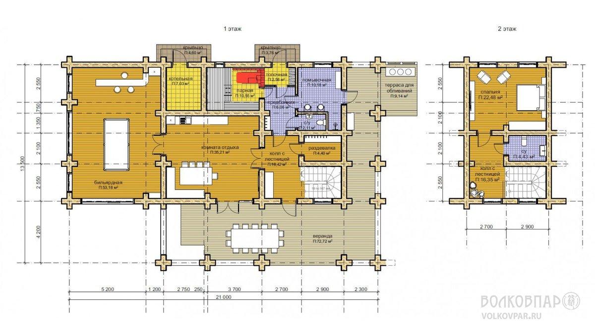 Планы 1 и 2 этажей.