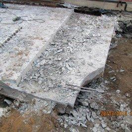 Производим демонтаж монолитной плиты, попавшей под место застройки