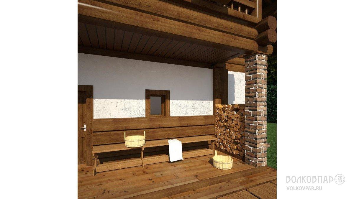Задний фасад дома. Выход из бани на террасу для обливания