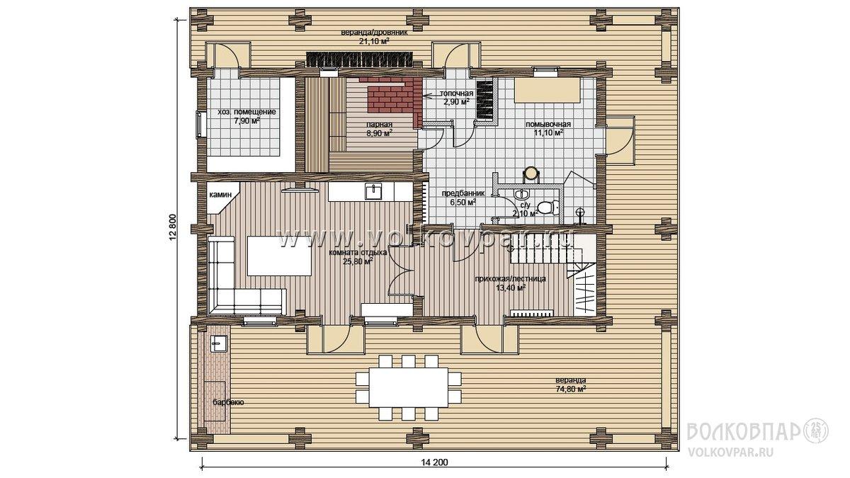 План первого этажа с рекомендуемой расстановкой, наличием и количеством мебели и оборудования