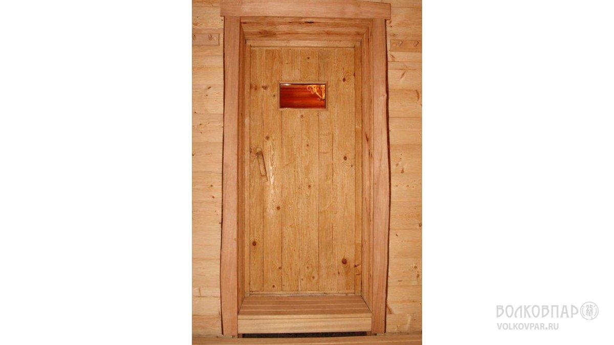 Дверь в парную ручной работы из  состаренной  кедровой сосны (сибирский кедр)