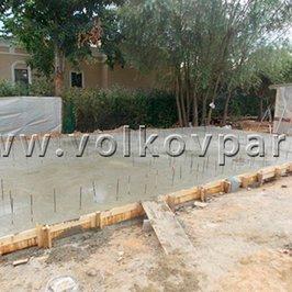 Завершено бетонирование плиты фундамента