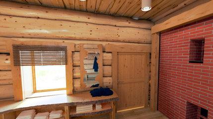 Комната отдыха в баньке из кедра